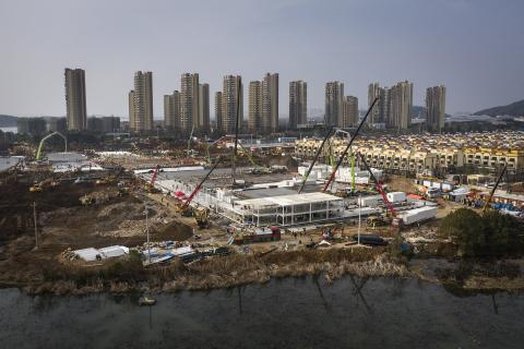 The hospital that is being built in Wuhan, China to treat people affected with Coronavirus.